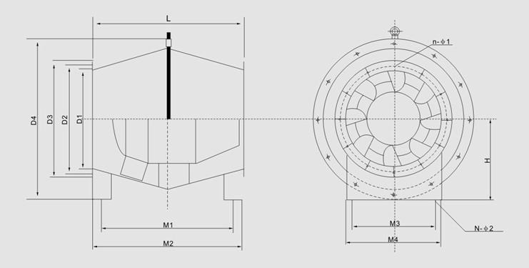 SJG型斜流式通风机主要技术参数